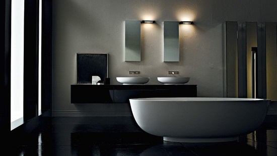 modern bathroom bathtub and lighting