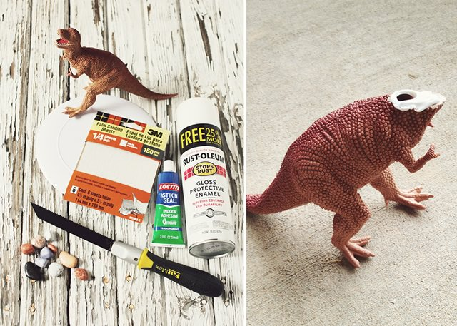 DIY Dinosaur Serving Dish Making Materials