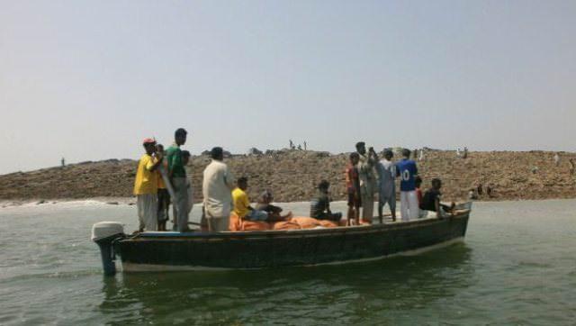 new island off Pakistan boat