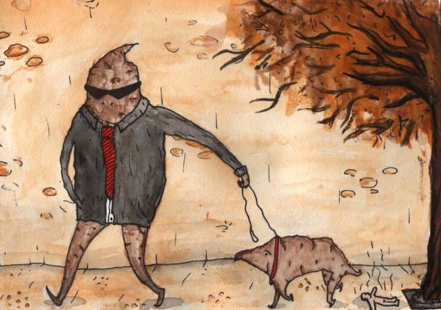 shit walking dog doing human