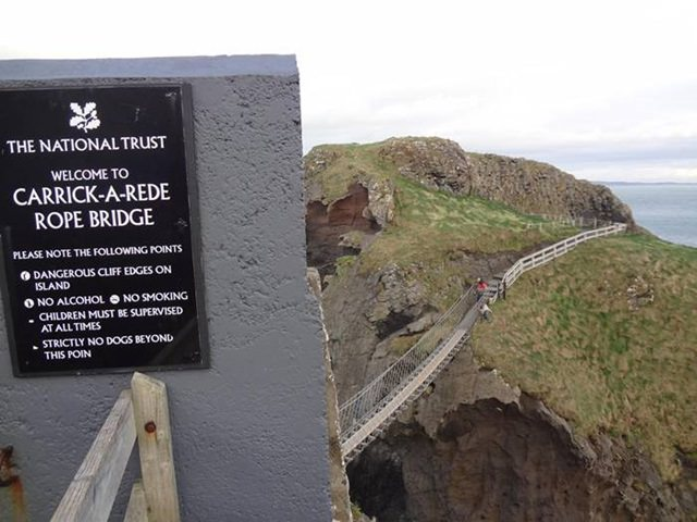 Bridge Carrick-a-Rede is built by wooden planks and ropes woven by the local fishermen are used as the railings. The oscillations of the Carrick-a-Rede Bridge are so strong that most of the people who cross its one side don't dare to look back and prefer to come down from the main road.