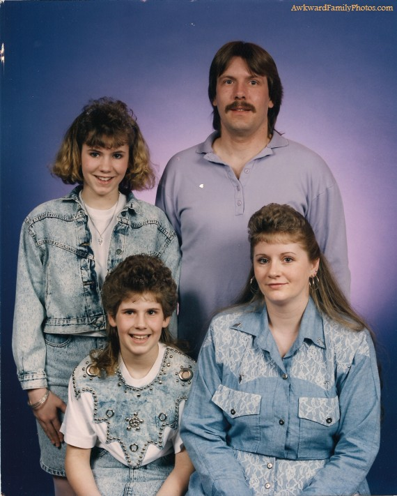 The holy trinity of awkwardness– denim,  mustache, and mullets